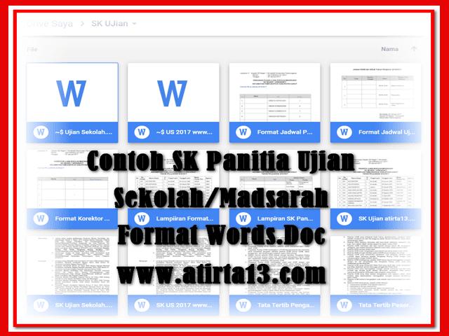 Contoh Format SK Ujian Sekolah/Madrsah Tahun 2017 Format Words.Doc