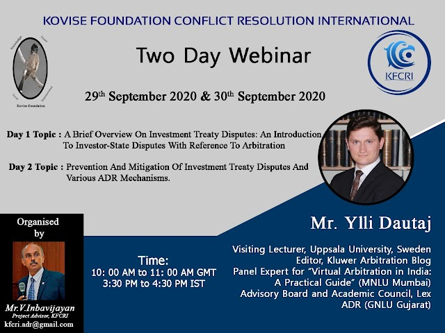 [Online] 2 Days Webinar on Dispute Prevention & Mitigation and means of Alternative Dispute Resolution in investment Disputes by Kovise Foundation Conflict Resolution International [Register Soon]