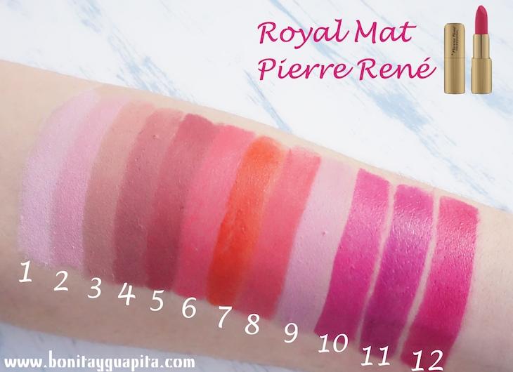 swatches Labiales Royal Mat de Pierre René