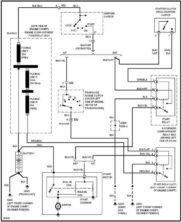 hyundai accent 1997 circuit system wiring diagram | all ... 2001 hyundai accent starter wiring diagram #2