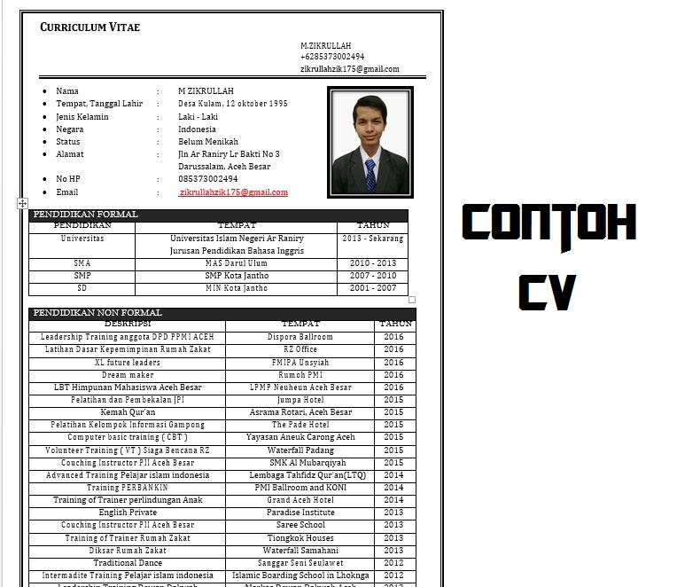 CONTOH CV ~ Zikrullah 21