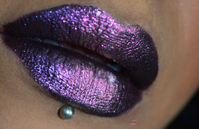 Dark duo chrome lips with a black base, selfish by nabla and jellyfish by neve cosmetics