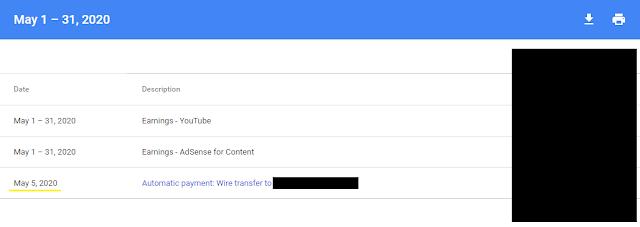 Google Adsense Payment - May 2020