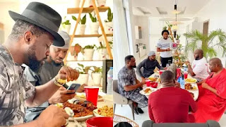 Don Jazzy hosts Paul of P-Square and his brother at his new mighty mansion