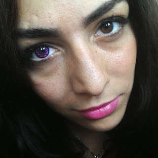 Comparison of brown eye and purple contact lenses