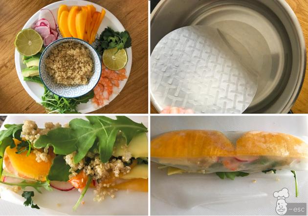 como hacer los Rollitos vietnamitas de kaki, langostinos y quinoa