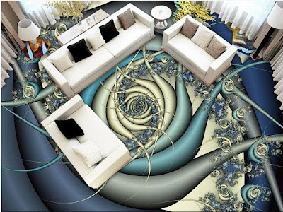 3D floor design ideas and murals for living rooms