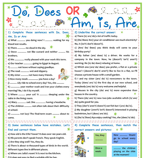 Ozela Kate: Worksheet For Children And Beginner - Auxiliary Verbs - Do, Does,  Am, Is, Are (P9-P10)