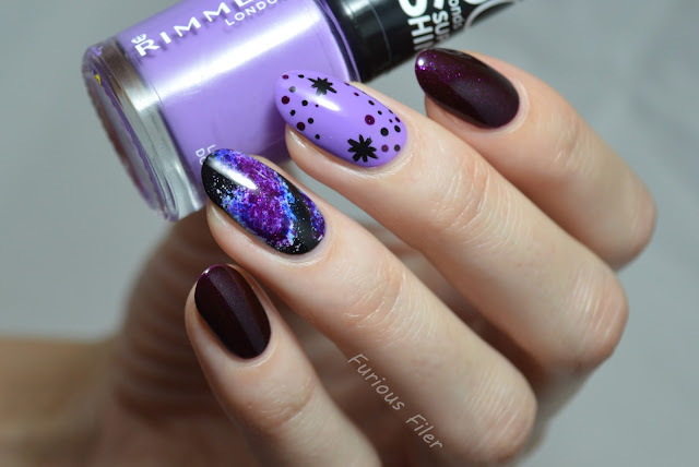 galaxy space cosmos sparkle stars nail art