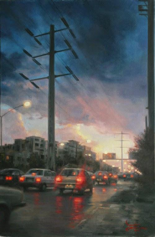 O Trânsito em Teerã - Iman Maleki e suas pinturas realistas ~ Pintor iraniano