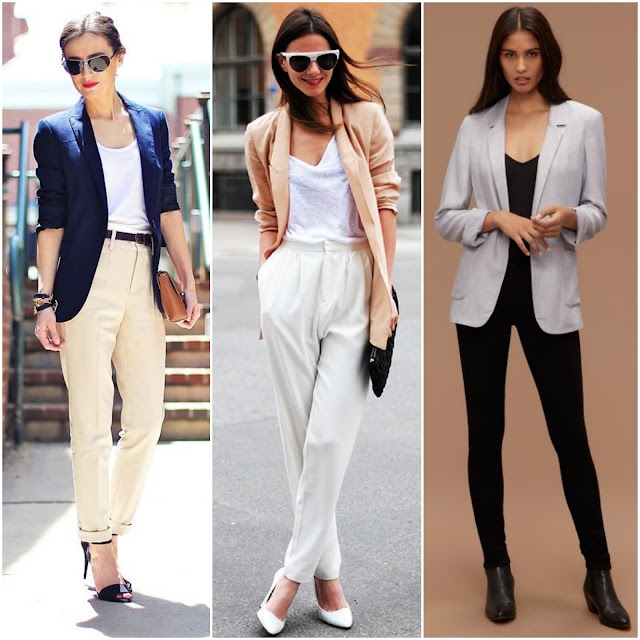 Relaxed Blazer + Tucked-in T-Shirt + Mismatched Trouser