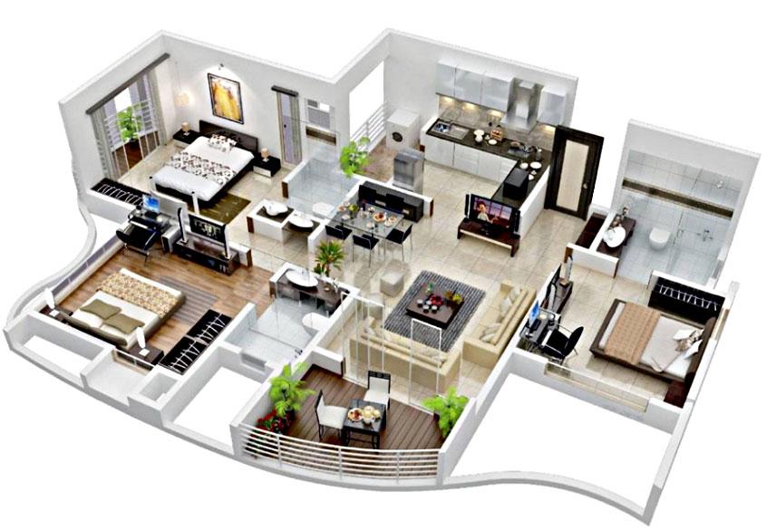 6 Inspirasi Denah & Desain Rumah Minimalis Type 60 Terbaru ...