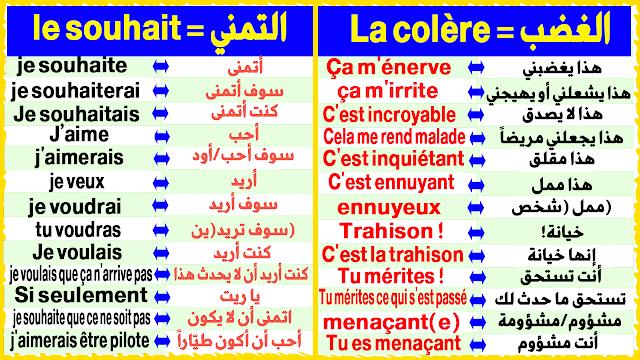 طريقة رائعة لتعلم الفرنسية بسرعة التعبير والتحدث بشكل رائع + للتحميل PDF La Colère et Le Souhait