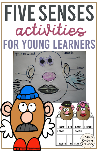 Five Senses unit with activities, student booklet, craftivities featuring Mr Potato Head, worksheets, and posters for the 5 senses for Kindergarten & First Grade