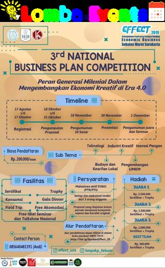 Lomba Business Plan Nasional EFFECT UNS 2019 Mahasiswa