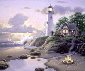 """Cottage by the Sea"" Lighthouse Art"