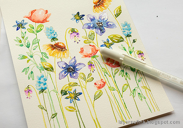 Layers of ink - Watercolor Floral Garden no-line coloring tutorial by Anna-Karin Evaldsson. Add highlights with a white gel pen.