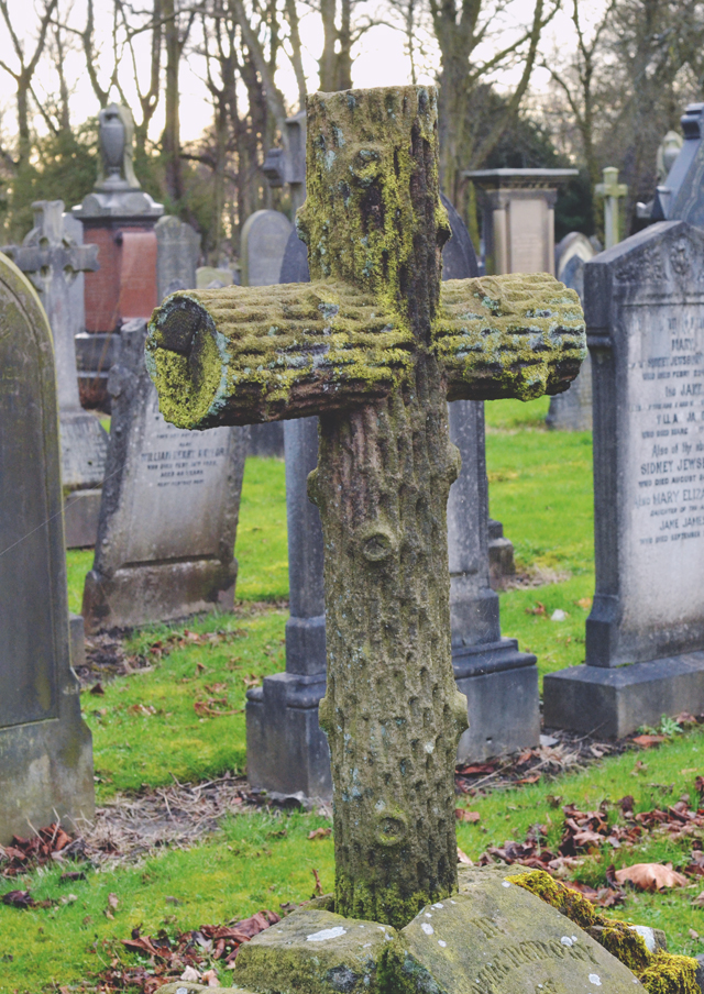 Tree branch headstone
