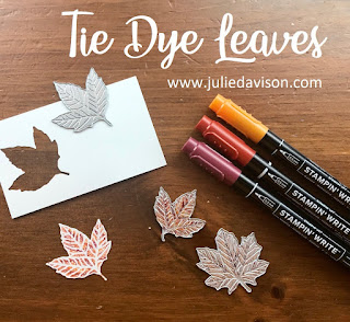VIDEO ~ Stampin' Up! Gathered Leaves ~ Come to Gather Suite ~ Tie Dye Leaves ~ www.juliedavison.com