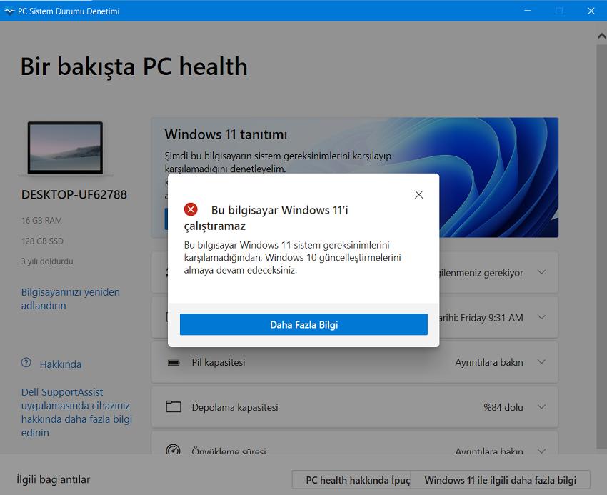 Bilgisayarınızın ücretsiz güncelleme için Windows 11 ile uyumlu olup olmadığı kontrol edin