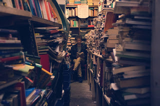 man in bookshop
