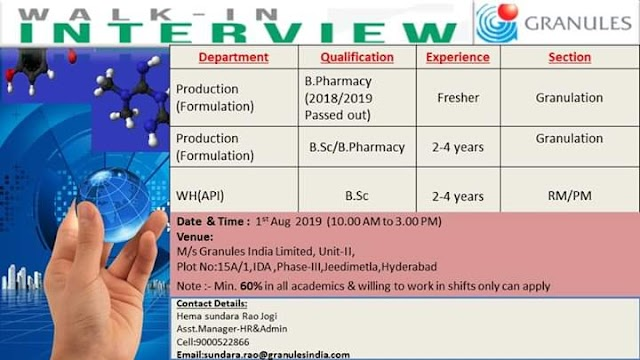Granules | Walk-in interview for Freshers & Experienced | 1 August 2019 | Hyderabad