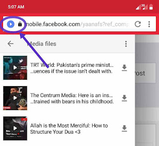 opera mini tab list facebook videos with download button