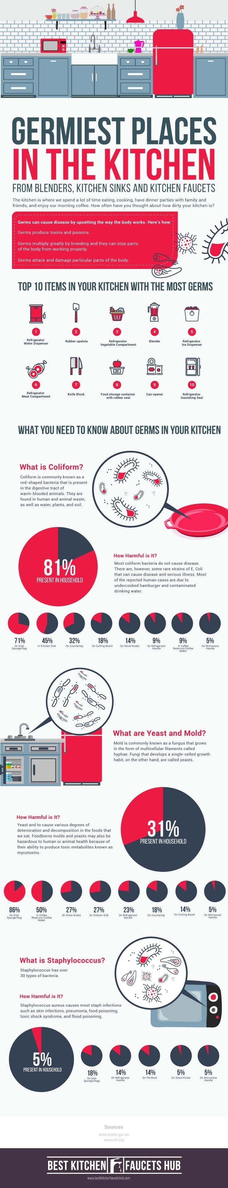 The Germiest Places in your Kitchen #infographic