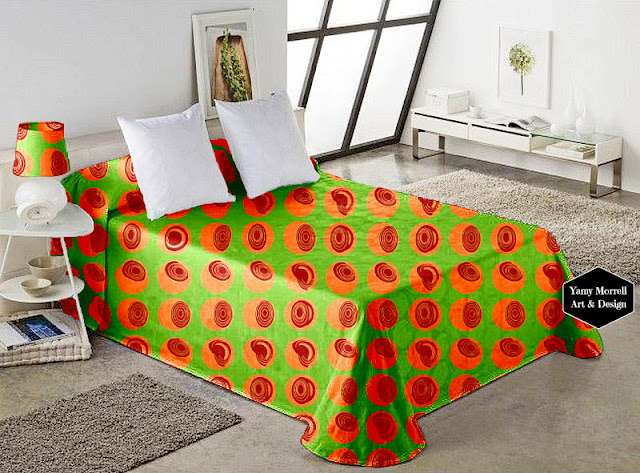 Green-pattern-fabric-bedding-geometric-by-yamy-morrell