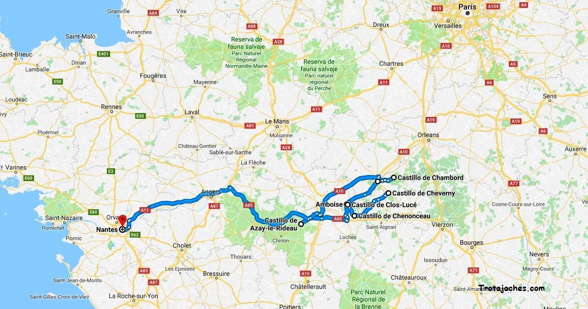 Castillos Del Loira Mapa.Ruta De Los Castillos De Loira Con Ninos Trotajoches