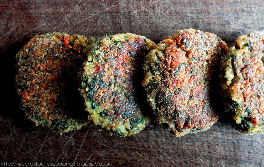 hamburguesas vegetarianas de arroz blanco y acelga