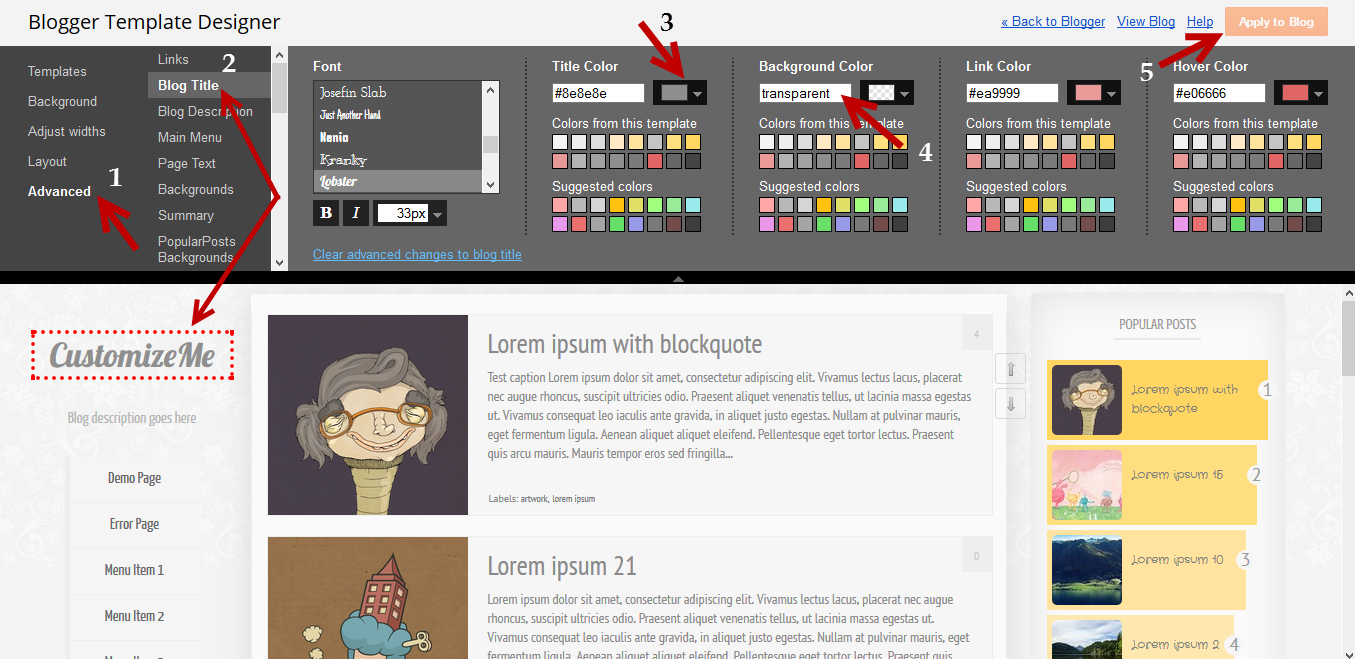 Outstanding Free Customizable Blogger Templates Crest - Example ...
