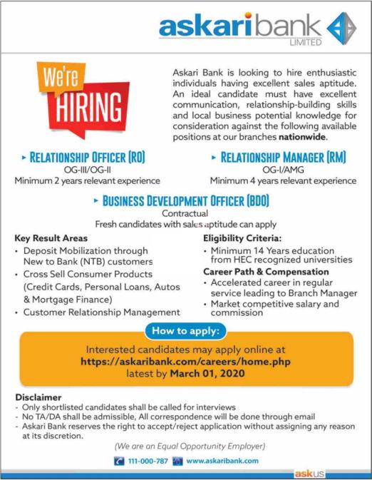 Jobs in Askari Bank Limited 2020