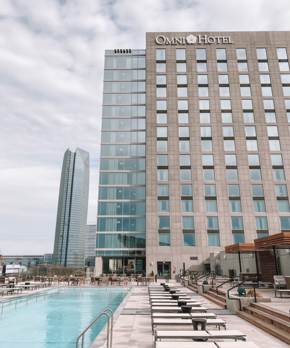 The rooftop pool at the Omni Oklahoma City overlooks Scissortail Park