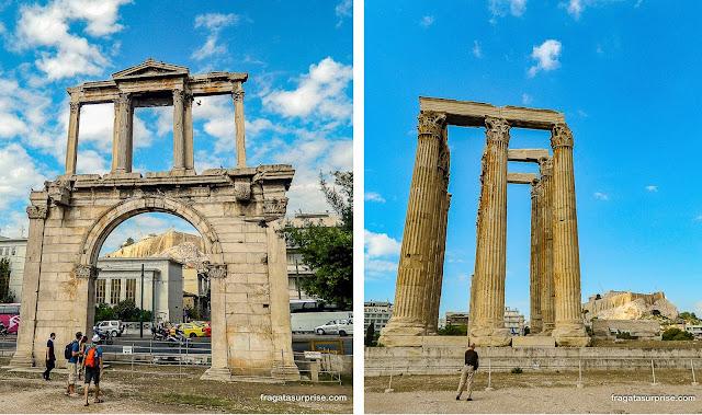 Atenas: Arco de Adriano e Templo de Zeus Olímpico