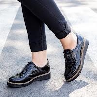 Pantofi dama Esperanta negri tip Oxford • modlet
