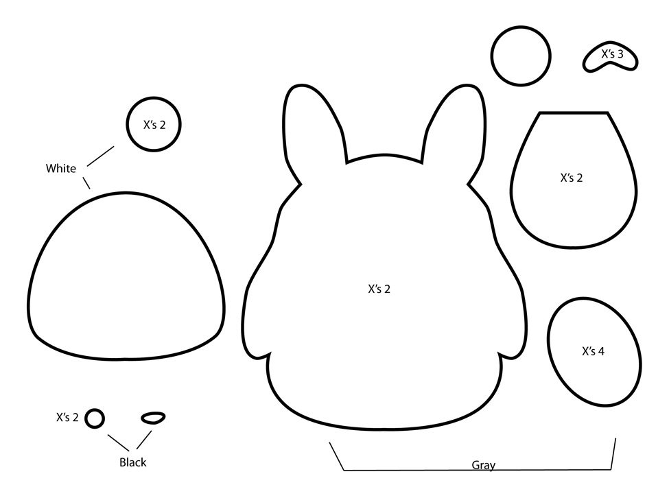How to make a totoro plushie from felt for Felt plushie templates