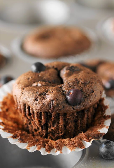 Dark Chocolate Blueberry Muffins have chopped dark chocolate right in the batter ~ it makes them oh so good.