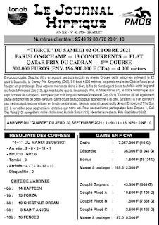 programme quinté Pronostic samedi 02/10/2021