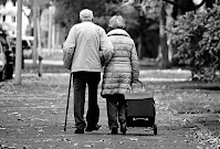 hopeless old couple heading towards oldage home