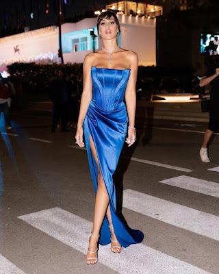 Cecilia Rodriguez abito blu elegante Mostra del Cinema di Venezia 3 settembre