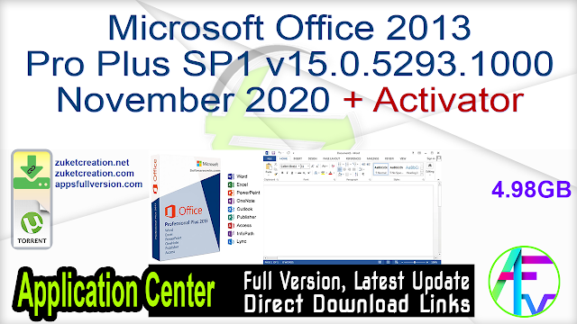 Microsoft Office 2013 Pro Plus SP1 v15.0.5293.1000 November 2020 + Activator