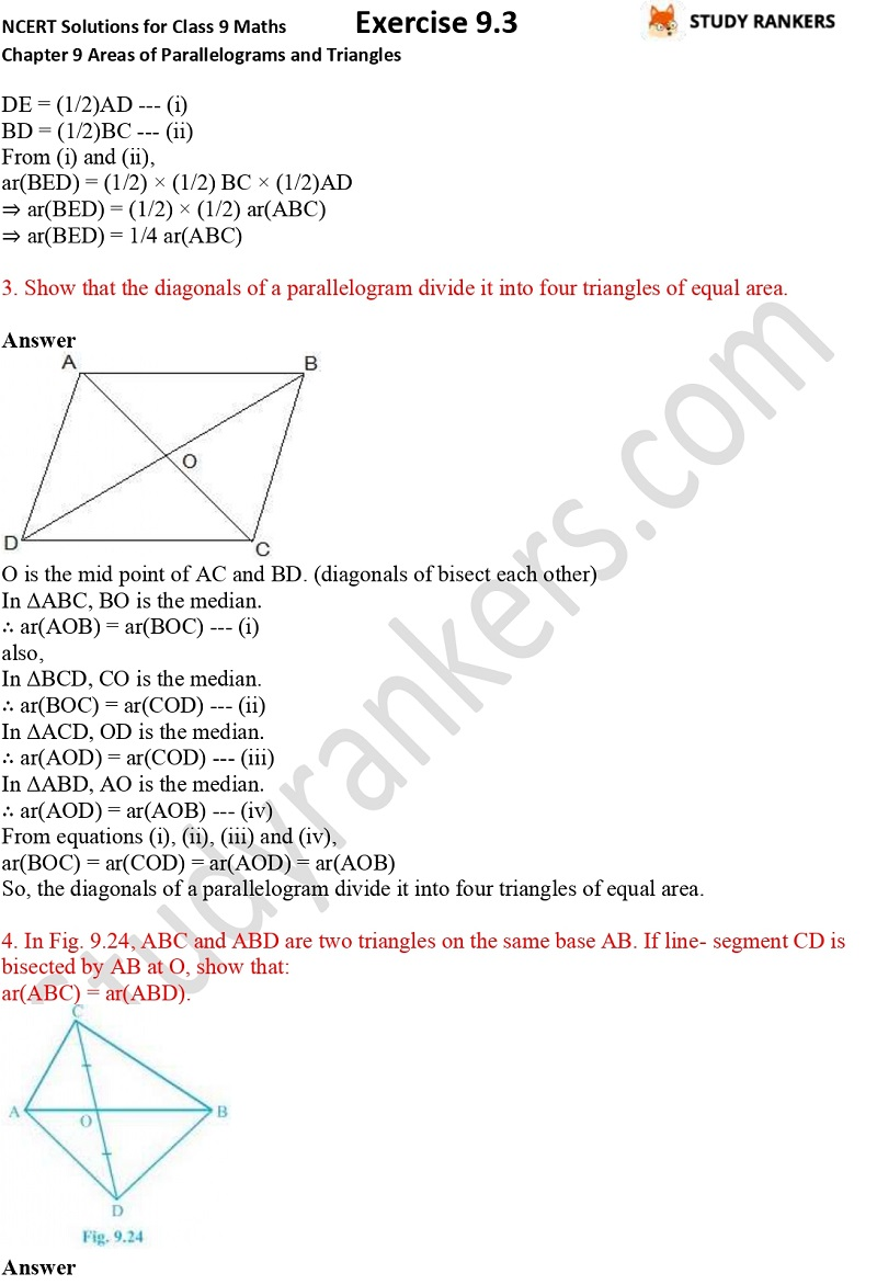 NCERT Solutions for Class 9 Maths Chapter 9 Areas of Parallelograms and Triangles Exercise 9.3 Part 2