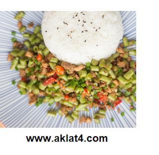 طريقة عمل اللوبيا باللحمة والرز بالشعرية وباذنجان مخلل
