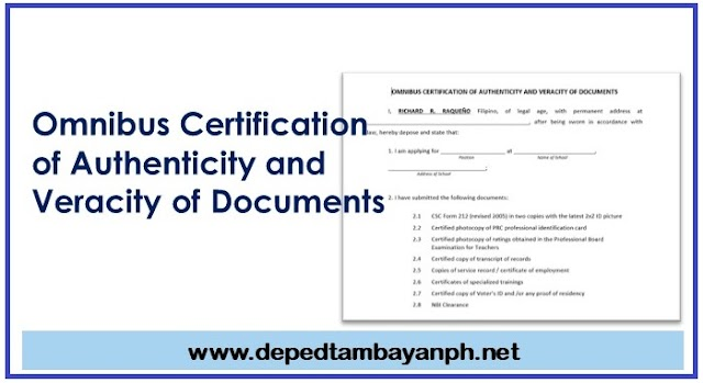 Omnibus Certification of Authenticity and Veracity of Documents