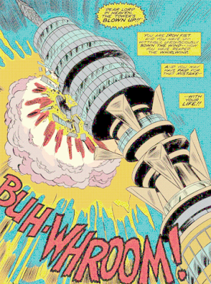 Iron Fist #3, Post Office Tower destroyed by Radion