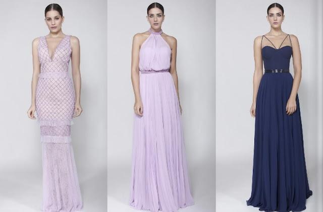 vestido de festa rosa e azul marinho