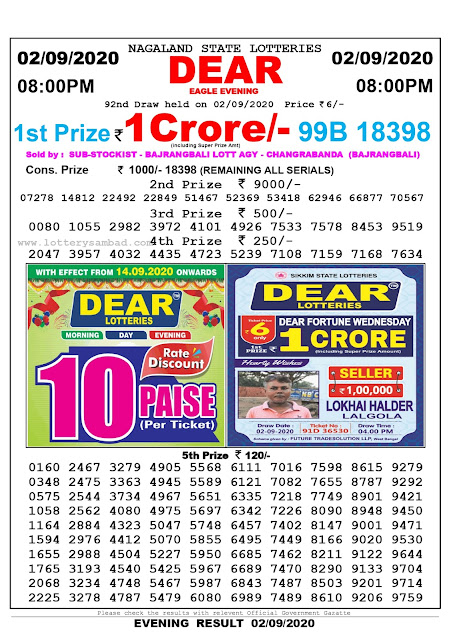 Nagaland State Lottery Sambad 02-09-2020 Today Result 8 PM