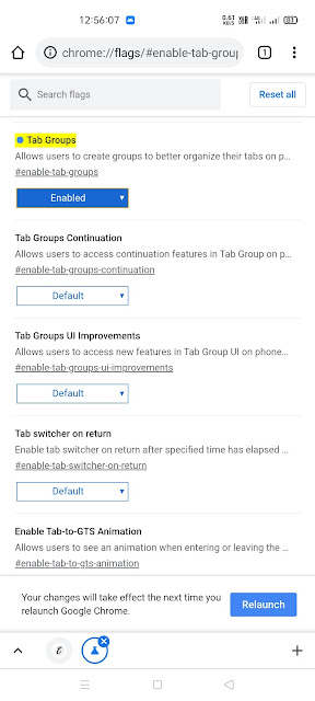 Tab Groups & Tab Grid chrome flag on Android