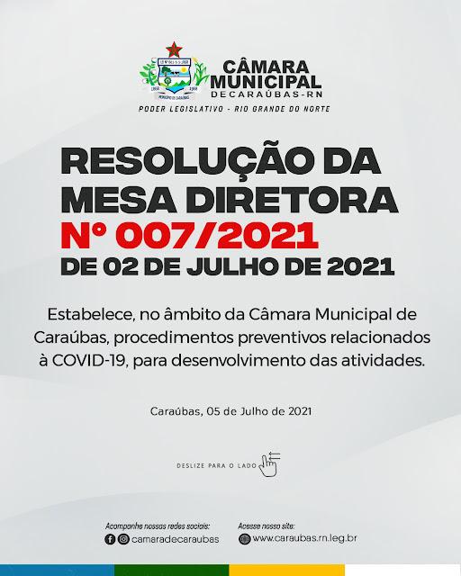 Covid-19: Câmara de Caraúbas emite nova resolução e sessões continuam de forma remota e sem a presença de público